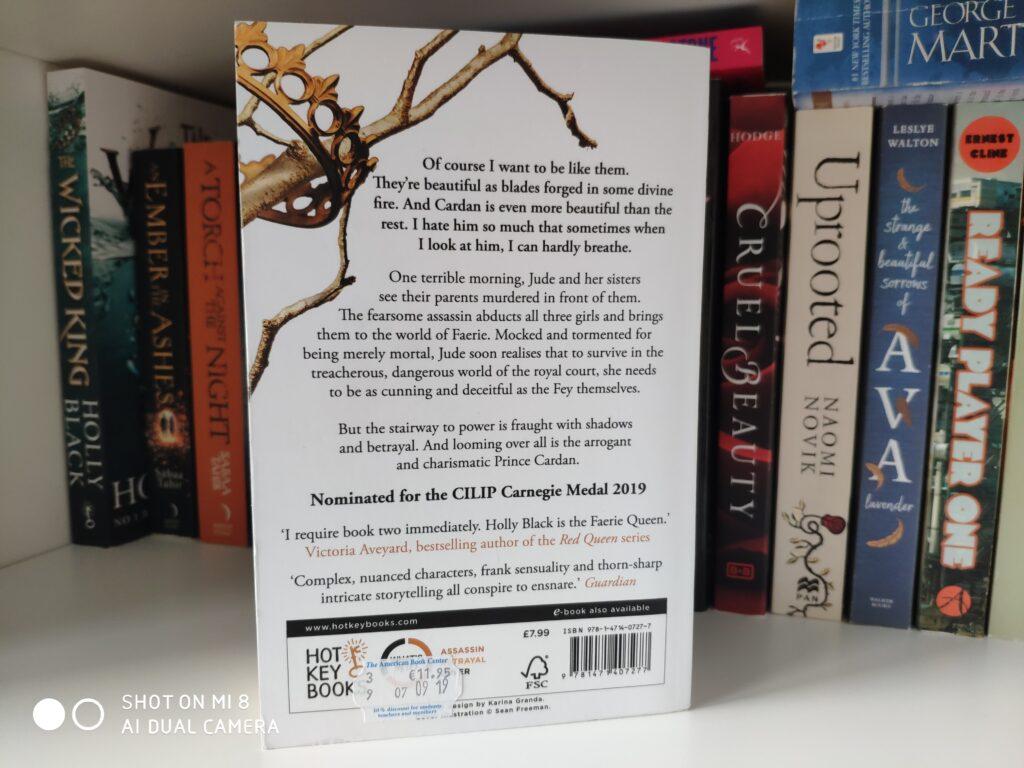 """Das Buch """"The Cruel Prince"""" steht mit dem Buchrücken nach vorne in einem Bücherregal."""