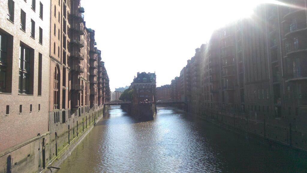 Die Speicherstadt in Hamburg.