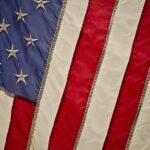 Auschnitt von einer vintage Amerika-Flagge.